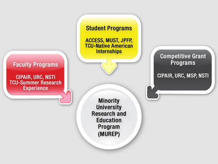 A diagram of representative Minority University Research and Education Program activities