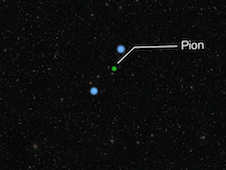 This animation shows the creation of a pion via the collision of a proton and a cosmic ray proton