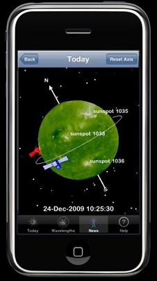 screen shot of 3D Sun iPhone application