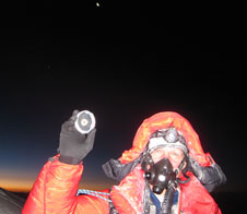 Scott Parazynski with moon rocks at Mt. Everest summit