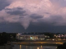 An unexpected EF2 tornado brushes the Huntsville, Ala., skyline on Jan. 21, 2010.
