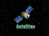 A cartoon satellite in space