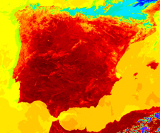 This image, one of 10 in the gallery, shows a false-color image of Spain during a July 2004 heatwave