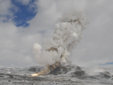Smoke curls into the Utah skies as FSM-17 completes its successful test firing