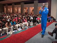 Astronaut Leland Melvin speaks to hundreds of middle school students at CIAA Education Day in Charlotte, N.C., Feb. 24, 2010