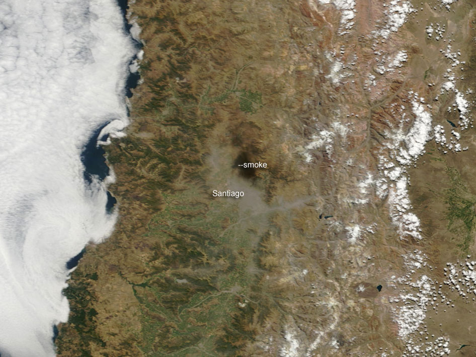 Humo sobre santiago de Chile (Imagen de Satélite)
