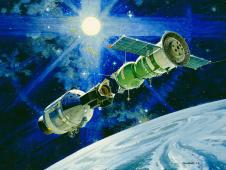 Robert McCall painting of Apollo-Soyuz mission