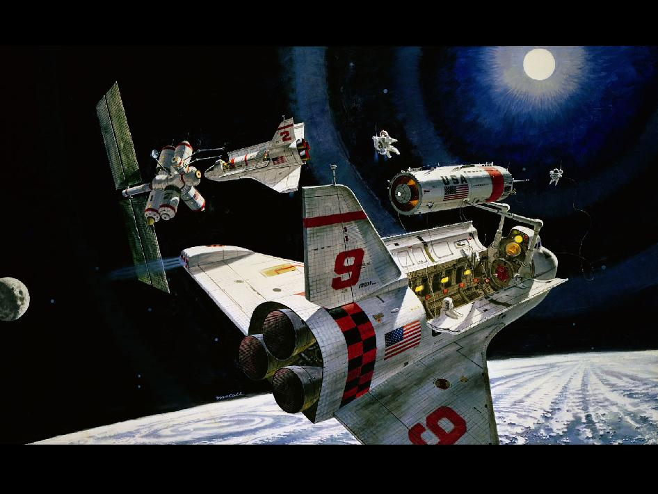 Space Shuttles at work by Robert McCall