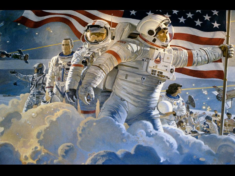 astronauts in a painting by Robert McCall
