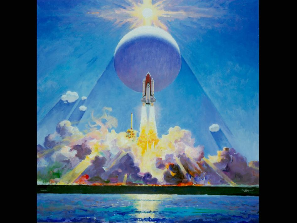 In this 1983 painting by Robert McCall, the launch of STS-7 from the Kennedy Space Center in Florida is depicted. This mission was the first American mission to have a female astronaut, Sally Ride. This was the seventh space shuttle mission, and was the second mission for the Space Shuttle Challenger. Credit: Robert McCall
