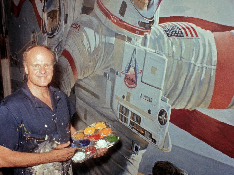 Renowned artist Robert McCall, a long-time space-scene painter, passed away on Feb. 26, 2010. He was 90. McCall created art work that inspired generations and has been seen the world over in NASA mission patches, NASA artist concepts for programs and in murals at NASA centers and museums across the country. Additionally, McCall painted movie posters for the 1968 science fiction film,