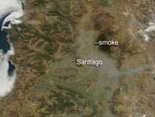 haze over Santiago, Chile, after earthquake