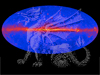 View of the gamma-ray sky overlaid with dragon illustration