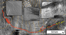 Details from the Ascraeus channel (red), meandering across the  surface of Mars