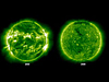 Views of the sun in 2000 and 2009