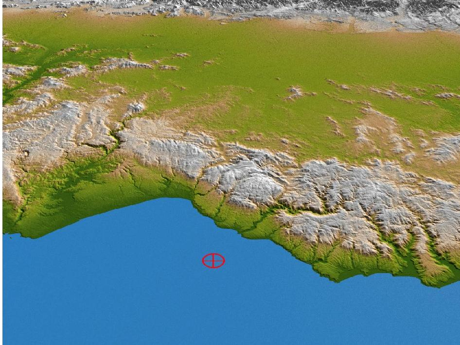 Color-coded shaded relief perspective view of coastal Chile.