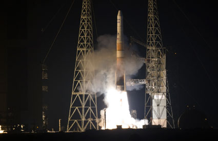 A Delta IV lifts off with the GOES-P spacecraft.