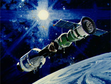 Artist's concept of Apollo-Soyuz docking