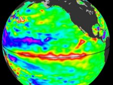 Satellite image showing the El Nino ocean warming effect in November 2009.