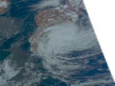 AIRS image of Hubert showing half of the storm is over land, and half is still over the Southern Indian Ocean.