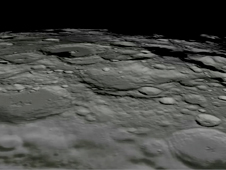 Still from visualization of flyover of the south pole of the moon
