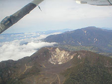 The Turrialba volcano as see from aircraft with detector.
