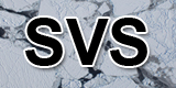 SVS letters superimposed on an ice field image