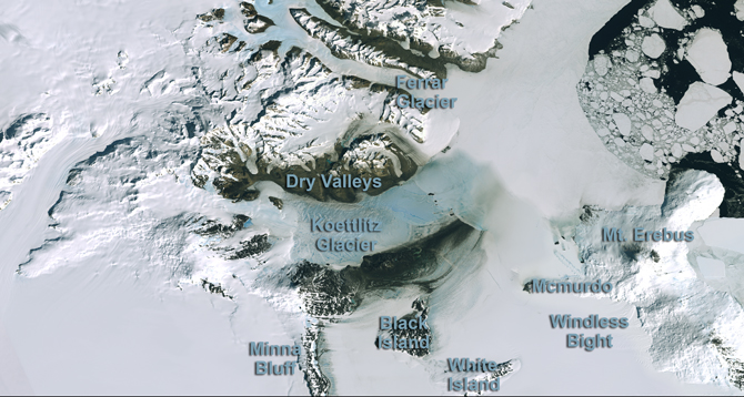 labeled map of a portion of West Antarctica