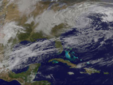 GOES 12 image of the well developed storm on March 15, 2010 over the New England coast.