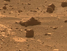 Images taken through three of the filters in Opportunity's new  software are combined into this approximately true-color view of the  rock, which is about the size of a football