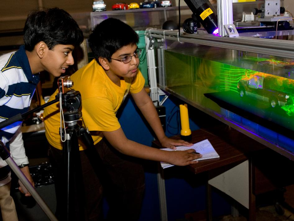 Two seventh grade students from Chaboya Middle School, San Jose, Calif., enjoyed a visit to the Fluid Mechanics Laboratory to learn about reducing drag with cars.