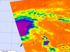 The AIRS instrument on NASA's Aqua satellite caught the eastern half of Tropical Storm Omais as it flew overhead.