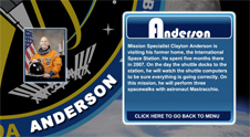 A close-up view of the name Anderson on the STS-131 mission patch and a photo of Clayton Anderson