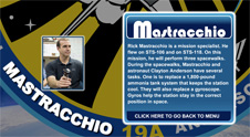 A close-up view of the name Mastracchio on the STS-131 mission patch and a photo of Rick Mastracchio