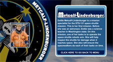 A close-up view of the name Metcalf-Lindenburger on the STS-131 mission patch and a photo of Dottie Metcalf-Lindenburger