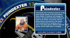 A close-up view of the name Poindexter on the STS-131 mission patch and a photo of Alan Poindexter