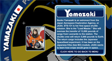 A close-up view of the name Yamazaki on the STS-131 mission patch and a photo of Naoko Yamazaki