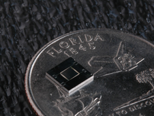 Tiny but powerful! The sensor compared in size to a Florida state  quarter