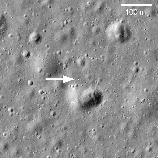Image with arrow marking Lunokhod 1 Rover in its final parking spot