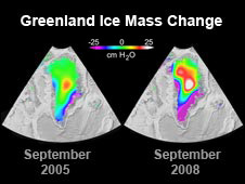 Changes in Greenland's ice mass as measured by NASA's Gravity  Recovery and Climate Experiment (Grace) mission between September 2005  (left) and September 2008 (right)
