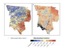 Data from hundreds of weather stations dotting the central U.S. in the left image illustrate the amount of rainfall estimated during a 16 week period in winter and spring 2000.