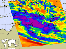 This infrared image showed that Paul's circulation and clouds were extremely disorganized at that time.