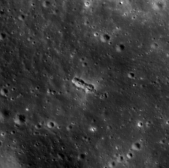 A string of secondary craters in Mare Orientale