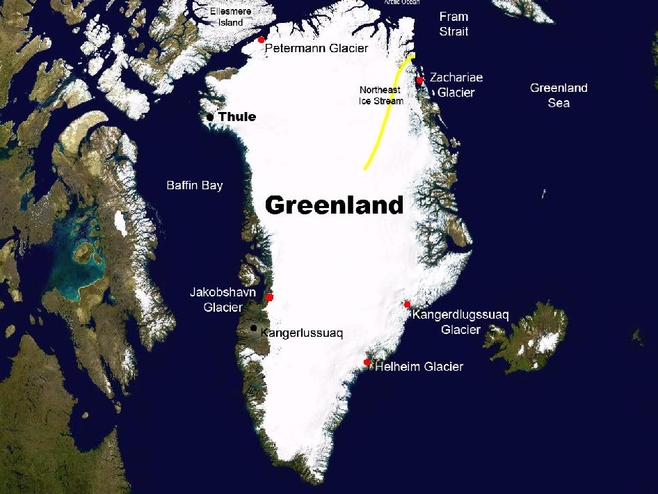 Graphic of Greenland with major cities marked.