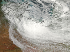 MODIS captured a visible image of the remnants of Cyclone Paul over the Gulf of Carpentaria, Australia.