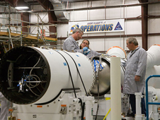 JSC2009-E-241540 -- Technicians work on the Pad Abort-1 flight test vehicle