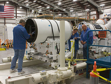 JSC2009-E-242181 -- Technicians work on the Pad Abort-1 flight test vehicle