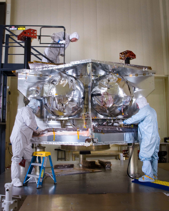 Photo of Juno spacecraft during assembly in April 2010.