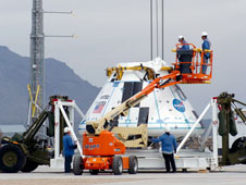 JSC2010-E-042181 -- The boilerplate crew module for the Pad Abort-1 (PA-1) flight test