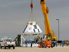 JSC2010-E-042217 -- The boilerplate crew module for the Pad Abort-1 (PA-1) flight test